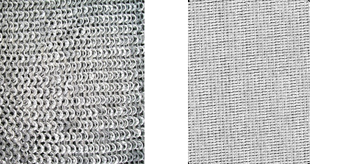 Silver Mesh Fabric/Chainmail riveted comparison